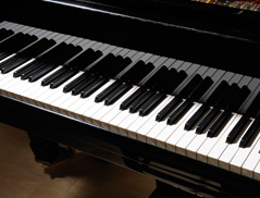 A grand piano's keyboard.